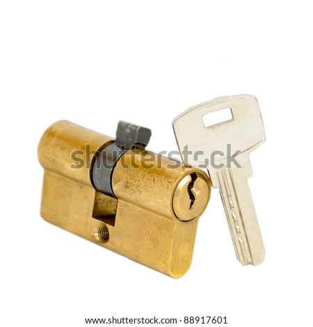 Door lock and key isolated on white