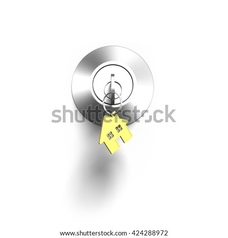 Door lock and key with house shape keyring, isolated on white background, 3D illustration. - stock photo