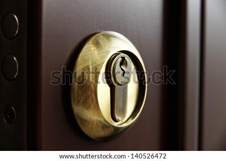 Door lock close-up - stock photo