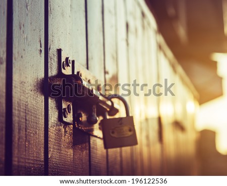 door lock old rusty background - stock photo