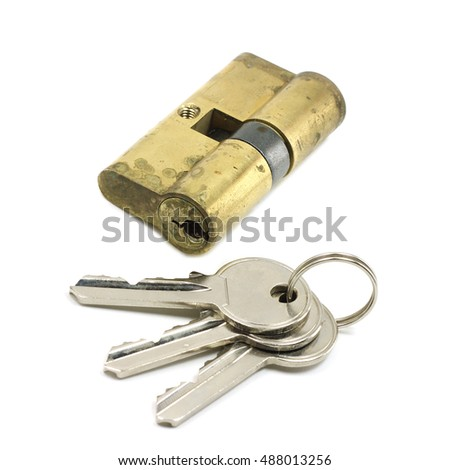 door lock with a bunch of keys on a white background
