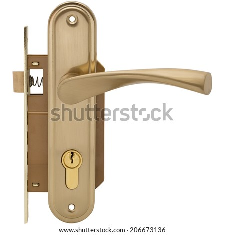 Door lock with handle isolated on white background - stock photo