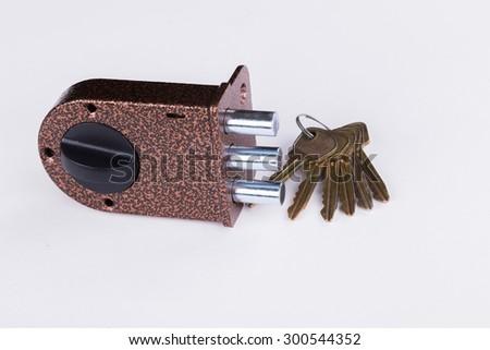 Door lock with keys. Door accessories. - stock photo