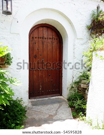 door of a traditional Greek house, Athens - stock photo