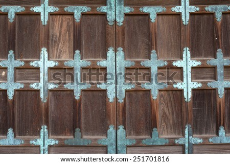 Door of Japanese old temple - stock photo