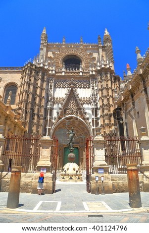 Door of the Prince of the Cathedral of Saint Mary of the See (Seville Cathedral) in Seville, Andalusia, Spain - stock photo