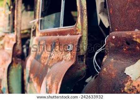 Door of very old car - stock photo