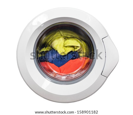 Door of washing machine isolated on white