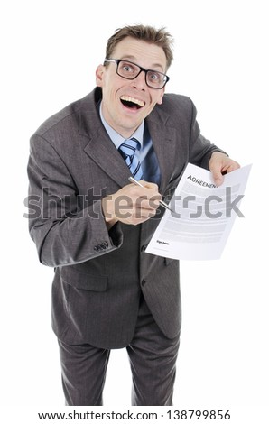 Door salesman or lawyer  - stock photo