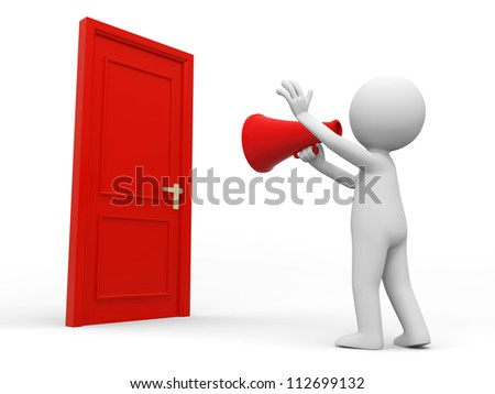 Door/speaker/A people call in front of a door with a speaker - stock photo