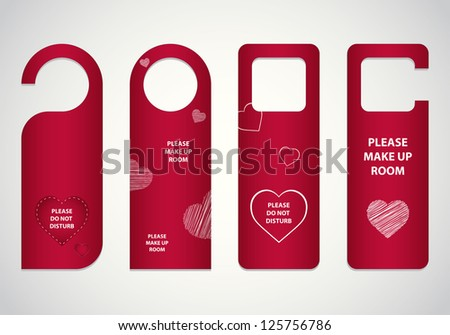 door tags with Valentine's day design - stock photo