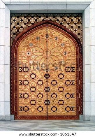 Door (the Kiptchak mosque in Turkmenistan) - The Kiptchak mosque is the largest mosque in Central Asia - stock photo