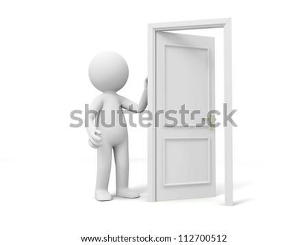 Door/Think/A person standing at a door - stock photo