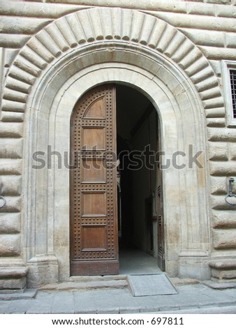 Door to church in Florence Italy