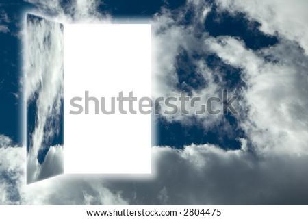 door to heaven on cloudy sky concept - stock photo