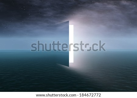 Door to heaven with stars