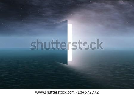 Door to heaven with stars - stock photo