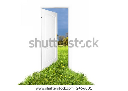 Door to new world. Easy editable image. - stock photo