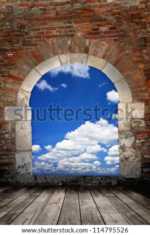 Door to sky - conceptual image - business metaphor - stock photo