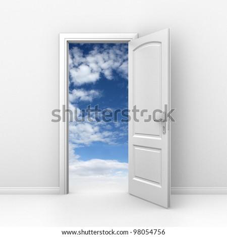 door to sky - heaven or freedom 3d concept - stock photo