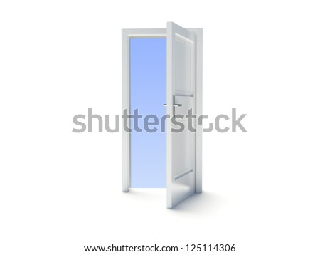 Door to sky on the white background - stock photo