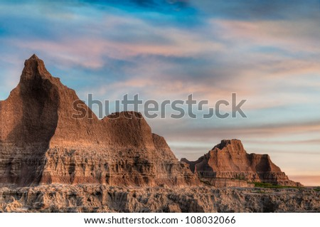 Door Trail Skies - Badlands National Park in South Dakota - stock photo