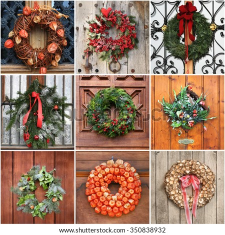 Door Wreath for Christmas decoration collage - stock photo