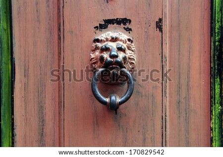 doorknob lion head on an old door - stock photo