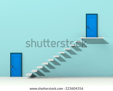Doors and stairs - stock photo