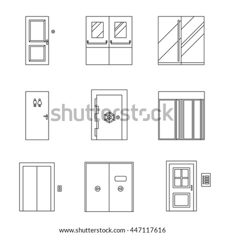 Doors for different purposes line icons. Thin illustrations of doors. Raster version - stock photo