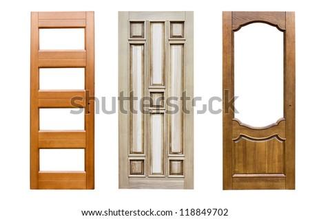 doors, isolated on white background. - stock photo