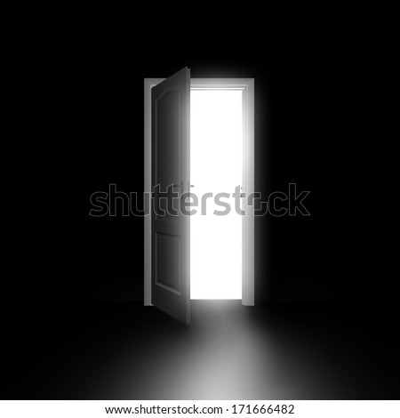 Doors opening . bright light through an open door in black room - stock photo