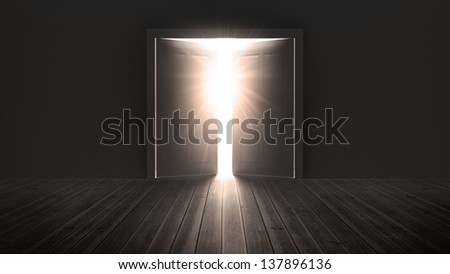 Doors opening to show a bright light in the darkness - stock photo