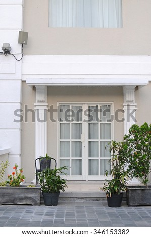 doors outdoor room with a nice view - stock photo