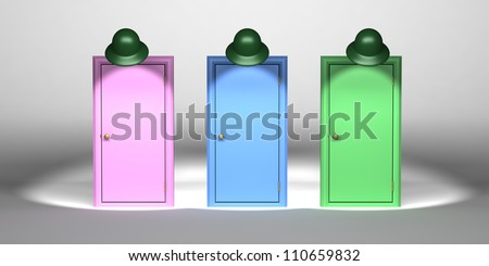 doors set up on a stage with spotlights on each as if it were a game show ready to choose. - stock photo