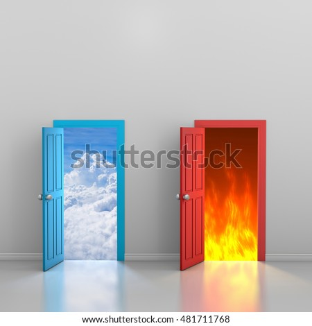 2 doors one to heaven one to hell