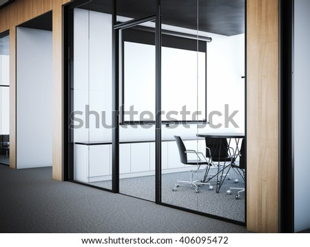 Doors to the modern meeting room in office interior. 3d rendering - stock photo