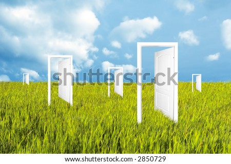 Doors to the new world. See also different versions! - stock photo