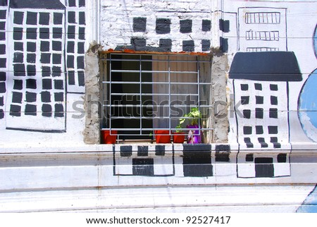 Doors, windows an wall covert by graffiti. Buenos Ares Argentina. - stock photo