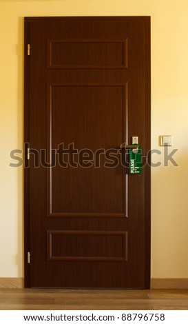 doors with sign for personal - make up room - stock photo