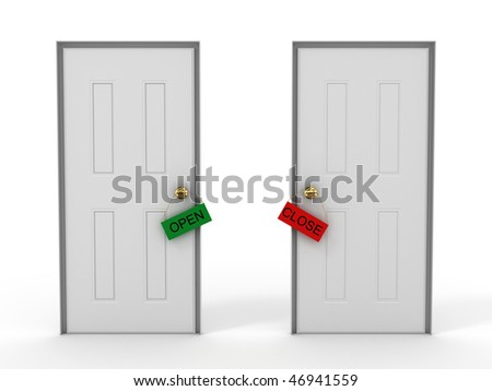 Doors with tags open and close.3D - stock photo