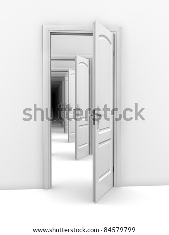 doorway abstract illustration - opportunity, frustration, infinity 3d concept - stock photo