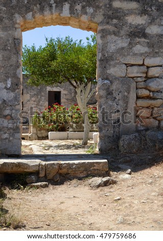 Doorway at Ancient Aptera Archaeological site