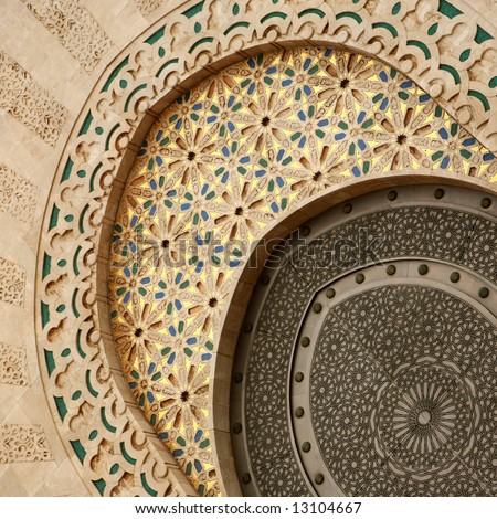 Doorway detail at the Hassan II mosque - Casablanca - stock photo