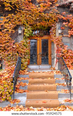 Doorway in fall. - stock photo