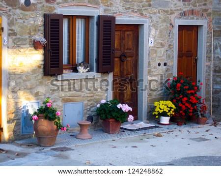 Doorway in Tuscany, Italy - stock photo