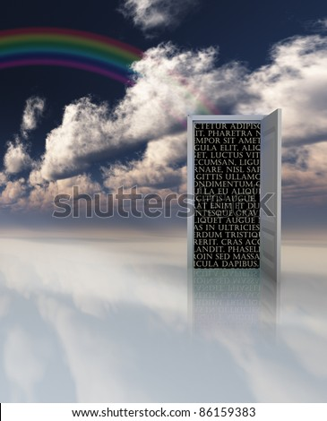 Doorway opens to black space with Latin text - stock photo