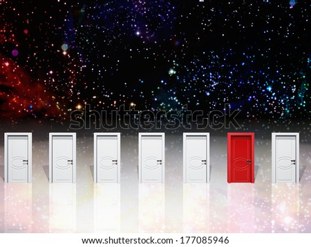 Doorways and space filled with stars - stock photo