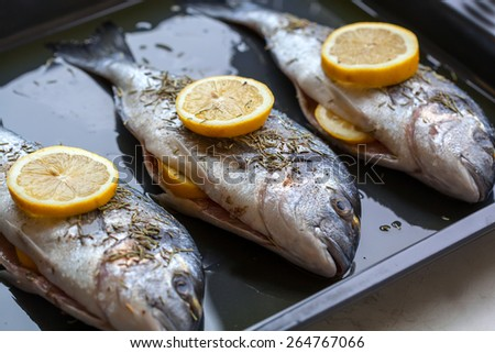 Dorado fish stuffed with lemon slices and rosemary for cooking. Shallow depth of field - stock photo