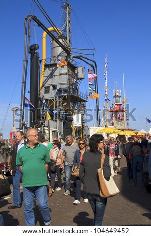 DORDRECHT, NETHERLANDS - JUNE 2 2012: Dordrecht in Steam, the largest steam power event in Europe. Crowds on the river waterfront on Saturday 2 June 2012 in Dordrecht.